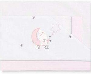 Pirulos diseño luna sábanas para cuna blanca y rosa 60x120
