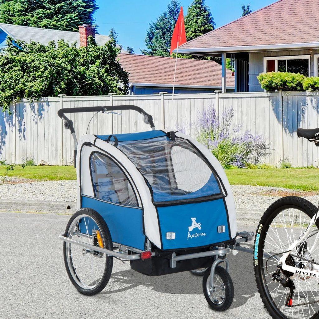 Remolque bicicleta para niños Homcom color azul