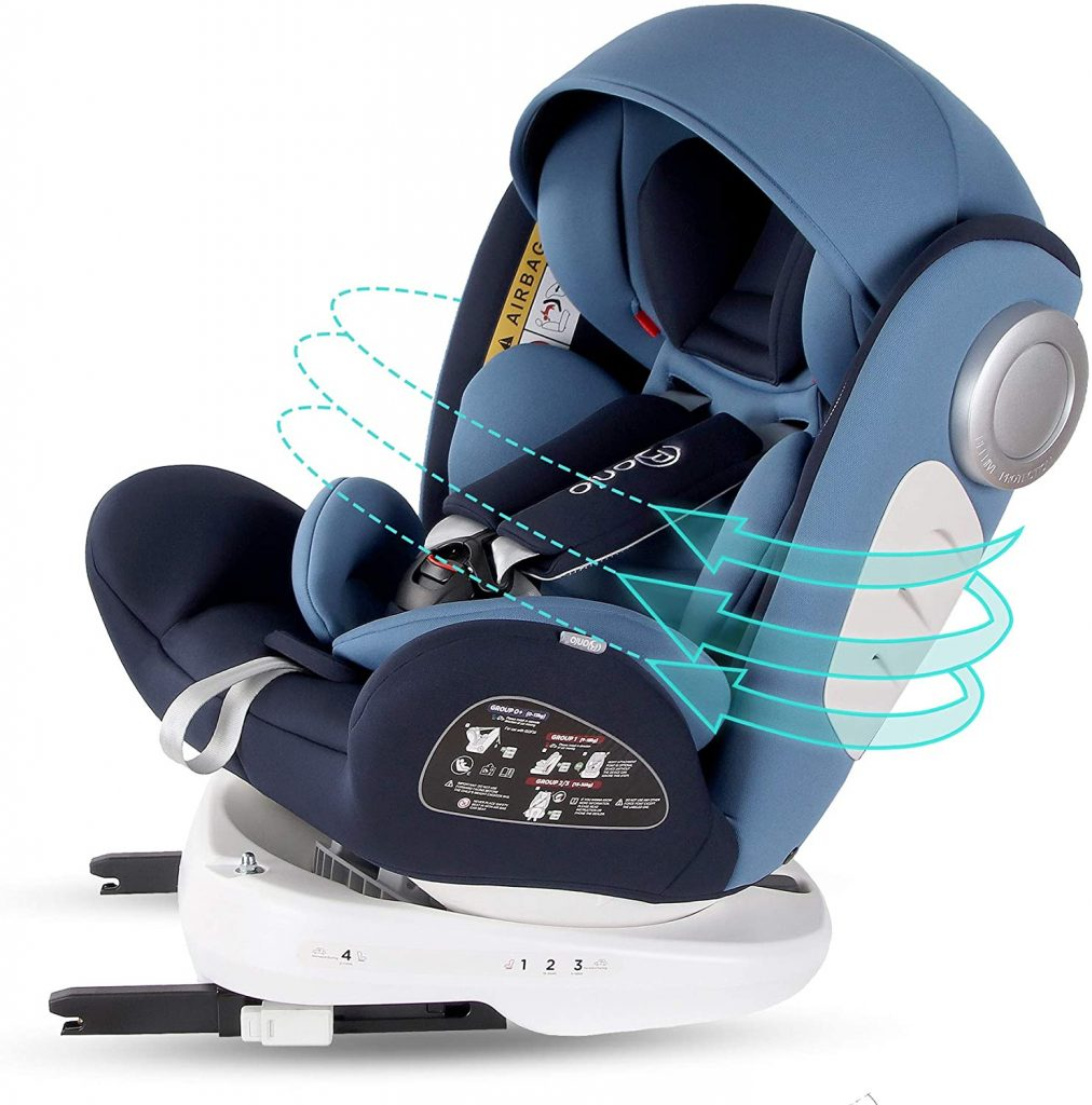 Bonio Silla de coche Giratoria 360º grupo 0+ 1 2 3 (0-36 kg) ISOFIX Azul
