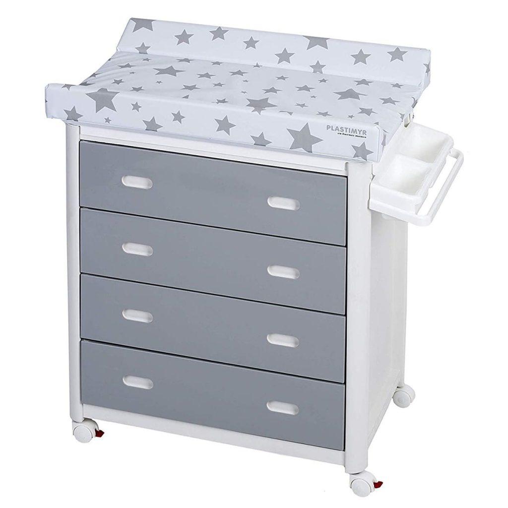 Bañera bebé cambiador con cajones Platimyr Blanco y gris